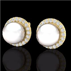 Natural .50 CTW Micro Pave Halo Diamond Certified & White Pearl Earrings 18K Yellow Gold - 21507-REF