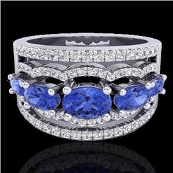 Natural 2.25 CTW Tanzanite & Micro Pave Diamond Certified Designer Ring 10K White Gold - 20807-REF#-