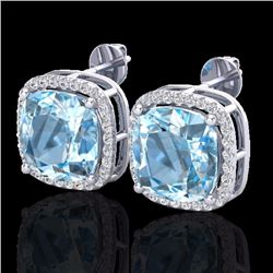 Natural 12 CTW Sky Blue Topaz & Pave Halo Diamond Earrings Solitaire 18K White Gold - 23070-REF#-76G