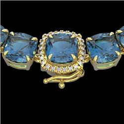 Natural 87 CTW London Blue Topaz & Diamond Halo Micro Necklace 14K Yellow Gold - 23369-REF#-248G2N