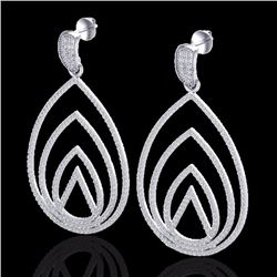 Natural 2.50 CTW Micro Pave Diamond Certified Designer Earrings 18K White Gold - 22476-REF#-191W8G