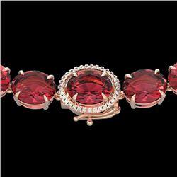 Natural 122 CTW Pink Tourmaline & Diamond Halo Micro Eternity Necklace 14K Rose Gold - 22309-REF#-10
