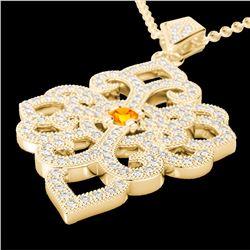 Natural 1.40 CTW Citrine & Micro Pave Diamond Designer Necklace 14K Yellow Gold - 22554-REF#-95Z2R