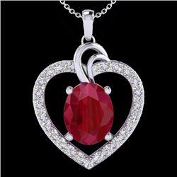 Natural 4 CTW Ruby & Diamond Certified Designer Heart Necklace 14K White Gold - 20494-REF#-63G5N