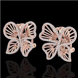 Natural 1.25 CTW Designer Micro Butterfly Diamond Certified Earrings 14K Rose Gold - 22500-REF#-80F6
