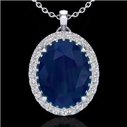 Natural 2.75 CTW Sapphire & Micro Diamond Halo Solitaire Necklace 18K White Gold - 20598-REF#-42Y8Z