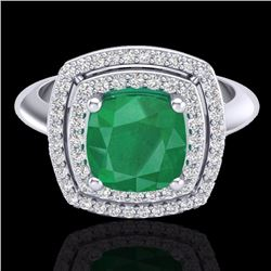 Natural 1.50 CTW Emerald & Micro Diamond Certified Pave Halo Ring 18K White Gold - 20759-REF#-69Y5Z