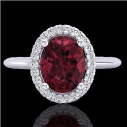 Natural 1.75 CTW Garnet & Micro Pave Diamond Bridal Ring Solitaire Halo 18K White Gold - 21012-REF#-