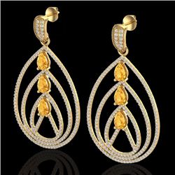 Natural 4 CTW Citrine & Micro Pave Diamond Certified Designer Earrings 18K Yellow Gold - 22454-REF#-