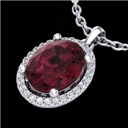 Natural 2.50 CTW Garnet & Micro Pave Diamond Certified Necklace Halo 18K White Gold - 21081-REF#-39A