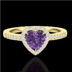 Natural 1 CTW Amethyst & Micro Pave Ring Heart Halo IN 14K Yellow Gold - 21401-REF#-24Y5Z