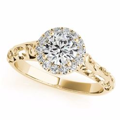 0.62 CTW Certified SI-I Diamond Solitaire Bridal Antique Ring 18K Yellow - 27326-#88Y5X