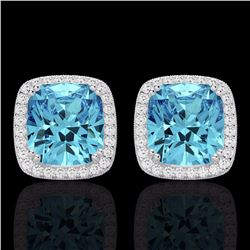 Natural 6.50 CTW Sky Blue Topaz & Micro Diamond Halo Solitaire Earrings 18K White Gold - 22812-REF#-