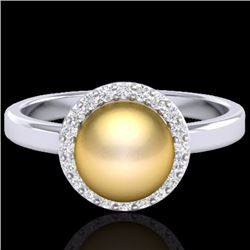 Natural .25 CTW Micro Pave Halo Diamond Certified & Golden Pearl Ring 18K White Gold - 21631-REF#-47