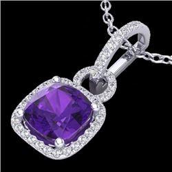Natural 3.50 CTW Amethyst & Micro Diamond Certified Necklace 18K White Gold - 22975-REF#-44G7N