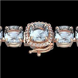 Natural 350 CTW Sky Blue Topaz & Micro Diamond Halo Bracelet 14K Rose Gold - 23328-REF#-121V4Y