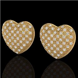 Natural 1.50 Designer CTW Micro Pave Diamond Certified Heart Earrings 14K Yellow Gold - 20178-REF#-7
