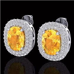 Natural 6 CTW Citrine & Micro Pave Diamond Certified Halo Earrings 14K White Gold - 20118-REF#-82Y5Z