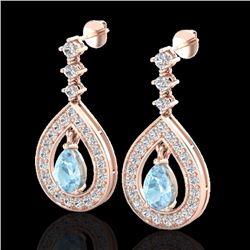 Natural 2.25 CTW Aquamarine & Micro Pave Diamond Earrings Designer 14K Rose Gold - 23146-REF#-94A7X