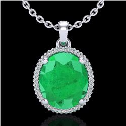 Natural 12 CTW Emerald & Micro Pave Diamond Certified Halo Necklace 18K White Gold - 20609-REF#-96X3