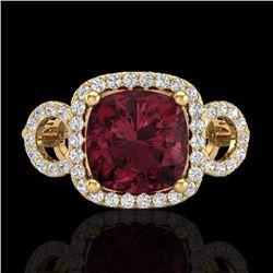Natural 3.75 CTW Garnet & Micro Diamond Certified Ring 18K Yellow Gold - 23005-REF#-69G8N