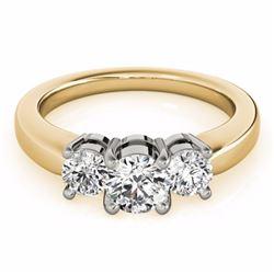 0.50 CTW Certified SI-I Diamond 3 stone Bridal  Ring 18K Yellow Gold - 28061-#71F3N
