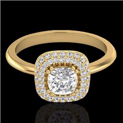 Natural 1.16 CTW Micro Diamond Bridal Engagement Ring Solitaire Halo 18K Yellow Gold - 21032-REF#-10