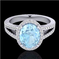 Natural 3 CTW Aquamarine & Micro Diamond Halo Solitaire Bridal Ring 18K White Gold - 20930-REF#-66R3
