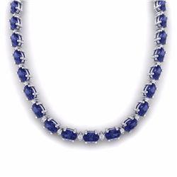 61.85 CTW TANZANITE & DIAMOND SI-I CERTIFIED ETERNITY TENNIS NECKLACE - 29519-#1012V8M