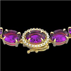 Natural 72 CTW Amethyst & Diamond Tennis Micro Pave Halo Necklace 14K Yellow Gold - 23451-REF#-169G4
