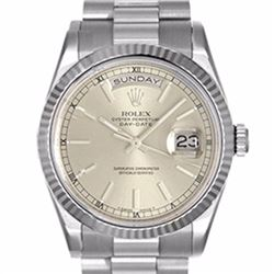 Pre-owned Excellent Condition Authentic Rolex Quickset Men's 18K White Gold Day-Date Silver Dial Wat