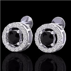 Natural 0.75 CTW Micro Pave Diamond Certified Earrings Solitaire Halo 18K White Gold - 20056-REF#-35
