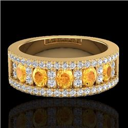 Natural 2 CTW Citrine & Micro Diamond Designer Inspired Ring 10K Yellow Gold - 20823-REF#-48F5V