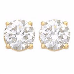 Natural 2.0 ctw Diamond Solitaire Stud Earrings 14K Yellow Gold - 13050-#468Z8P