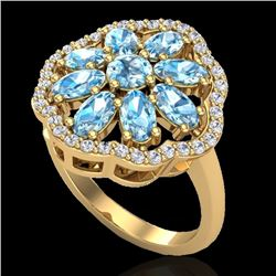 Natural 3 CTW Sky Blue Topaz & Diamond Certified Cluster Halo Ring 10K Yellow Gold - 20775-REF#-44T2