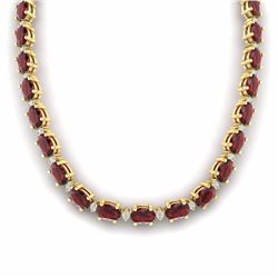 61.85 CTW GARNET & DIAMOND SI-I CERTIFIED ETERNITY TENNIS NECKLACE - 29510-#252R8Z