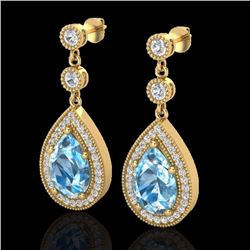 Natural 7.50 CTW SKY Topaz & Micro Pave Diamond Earrings Designer 18K Yellow Gold - 23126-REF#-58T8K