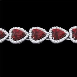 Natural 25 CTW Garnet & Micro Pave Diamond Bracelet Heart Halo IN 14K White Gold - 22615-REF#-259Y2Z