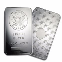 One piece 100 oz 0.999 Fine Silver Bar Sunshine Mint