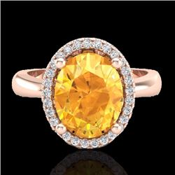 Natural 2.50 CTW Citrine & Micro Pave Diamond Certified Ring Halo 14K Rose Gold - 21100-REF#-33R5H