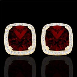 Natural 6 CTW Garnet & Micro Pave Diamond Halo Solitaire Earrings 18K Yellow Gold - 22805-REF#-63Y2Z