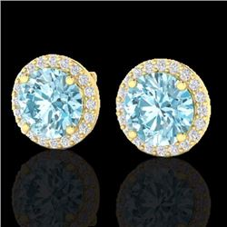 Natural 4 CTW Sky Blue Topaz & Halo Diamond Micro Earrings Solitaire 18K Yellow Gold - 21484-REF#-50