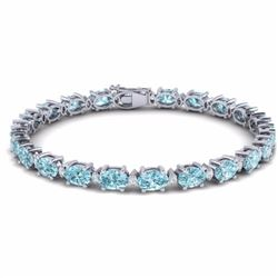 19.70 CTW SKY BLUE TOPAZ & DIAMOND SI-I CERTIFIED ETERNITY TENNIS BRACELET - 29382-#83Z5M