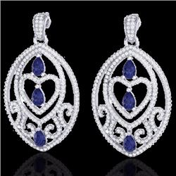 Natural 7 CTW Tanzanite & Micro Pave Diamond Heart Earrings Designer IN 18K White Gold - 21163-REF#-