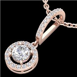 Natural .90 CTW Micro Pave Halo Solitaire Diamond CertifiedNecklace 14K Rose Gold - 23271-REF#-74A7X