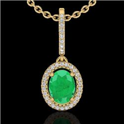 Natural 2 CTW Emerald & Micro Pave Diamond Necklace Solitaire Halo 18K Yellow Gold - 20659-REF#-47Z3