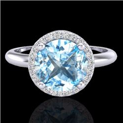 Natural 2.70 CTW Sky Blue Topaz & Micro Diamond Ring Designer Halo 18K White Gold - 23214-REF#-44N8A