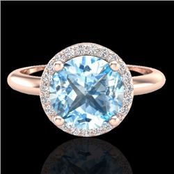 Natural 2.70 CTW Sky Blue Topaz & Micro Diamond Ring Designer Halo 14K Rose Gold - 23215-REF#-39H2M