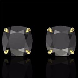 Natural 6 CTW Cushion cut Black Diamond Designer Solitaire Stud Earrings 18K Yellow Gold - 21736-REF