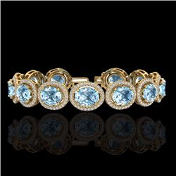 Natural 22 CTW Sky Blue Topaz & Micro Pave Diamond Certified Bracelet 10K Yellow Gold - 22701-REF#-2